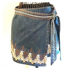 Free People Wrap Denim Skirt